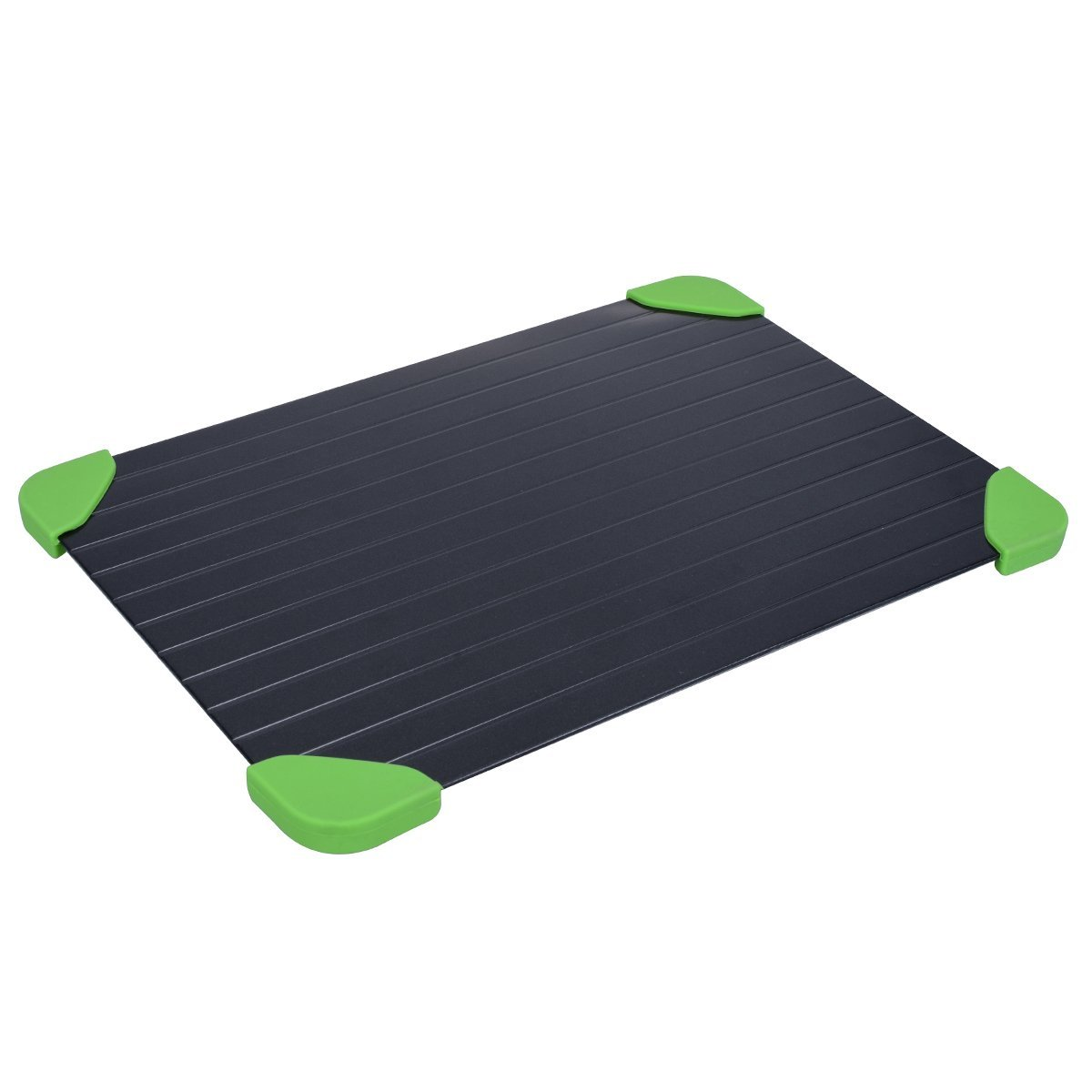 YoungRich Defrosting Tray with 4 Green Rubber Protective Corner Case rapid thaw meat defrosting tray with No Electricity No Chemicals No Microwave for Kitchen