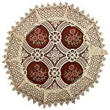 Simhomsen Set Of 4 Lace Doilies For Dining Table, Round 18 inch, Vintage Look And Victorian Style