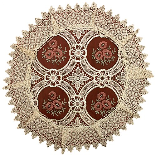 Simhomsen Set of 4 Lace Doilies for Dining Table, Round 18 inch, Vintage Look and Victorian Style ()