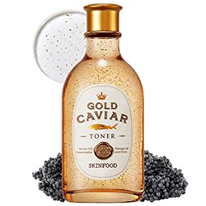 SKINFOOD Gold Caviar EX Toner 145ml (4.9 fl.oz) - Concentrated Caviar & Gold Anti-Wrinkle & Nourishing Boosting Toner, For Sagging and Aging Skin