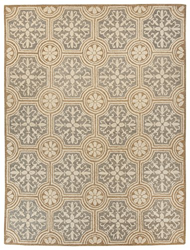 Ashley Furniture Signature Design   Medallion Vintage Casual Area Rug   5X7 Ft Medium Size   Neutral Tone