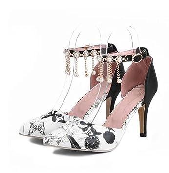Zapatos de mujer Cuero sintético Tacones de aguja de estilete del dedo del pie puntiagudo Glitter