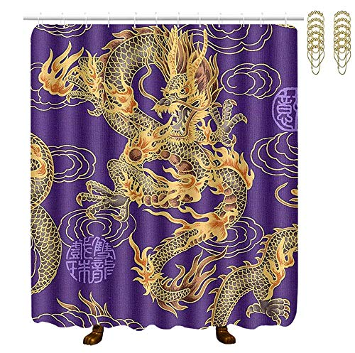 (POP MKYTH Waterproof Fabric Bath Curtains, Purple Golden Chinese Dragon, Waterproof Bathroom Shower Curtain with Gold Hooks, 70x70 Inch - Spa Bathroom Accessories Decor Art)
