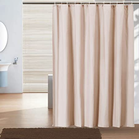 Bathroom Shower Curtain or Liner Fabric 71 by 71 inches Hotel Quality Waterproof Spa with White Plastic Hooks Beige Color