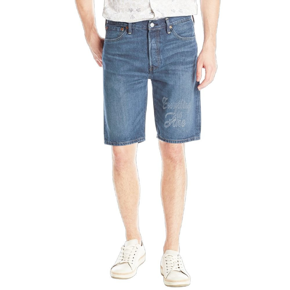 Achunlan Everything is Fine Mens Casual Short Denim Jean Pants Cool Casual Jeans Trousers RoyalBlue