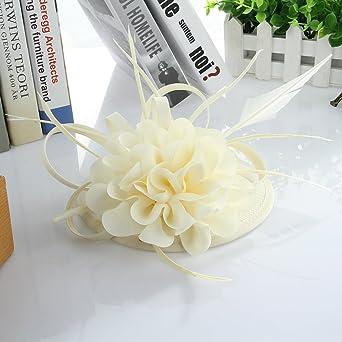 EOZY Mujer Tocado de Boda Fiesta Sombrero Vintage Blanco Arroz  Amazon.es   Ropa y accesorios 70a05149e6a