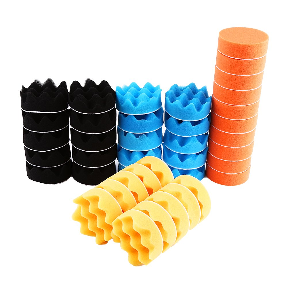 Qiilu 50Pcs 3'' Polishing Pads Kit Sponge Waxing Buffing Foam Polish Pad Set for Car Sanding, Polishing, Waxing, Sealing Glaze