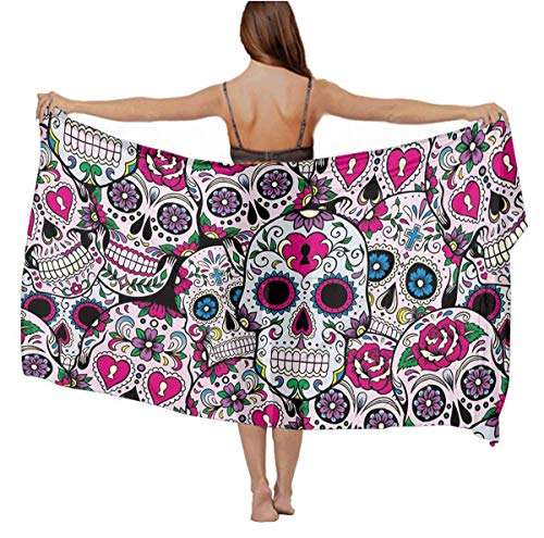 Girls Stylish Sexy Shawl Cashmere Feel Oversized Head Wrap Sarong Skirt for Pool Party Travel Swim, Sugar Skull Pattern Summer Paisley Evening Dresses Cape