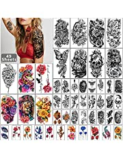 49 arkuszy czarny pół rękaw wodoodporny tymczasowy tatuaż dla dorosłych mężczyzn i kobiet, 3D kwiat zwierząt fałszywe naklejki z tatuażami dla nastolatek dziewczyny ciało ręka ramię podbródek szyja