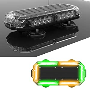 """SpeedTech Lights K-Force Micro TIR 14"""" LED Mini Light Bar Emergency Strobe Lights & Magnetic Roof Mount Warning Light for Emergency Vehicles Amber/Green Alternating"""