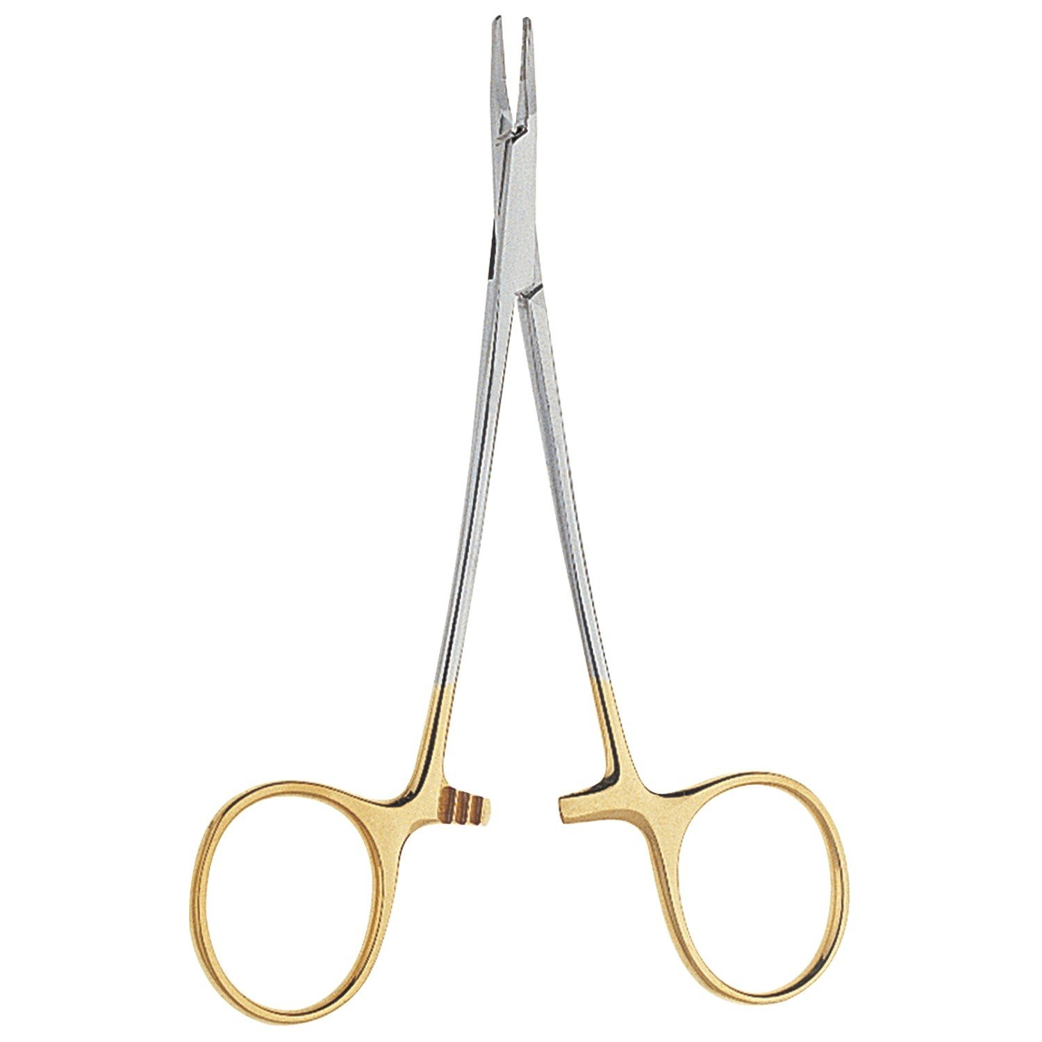 V. Mueller CH2509 Vital Ryder Needle Holder, Narrow Jaws, Serrated, Tungsten Carbide Inserts 3,600 Teeth Per sq. in., Gold Plate and Satin Finish, 8'' Length , 8'' Length