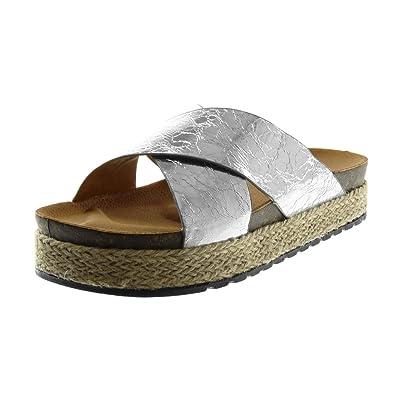 Angkorly - Chaussure Mode Sandale Mule slip-on effet vieilli plateforme femme brillant corde tréssé Talon compensé plateforme 4 CM qjsAonJ
