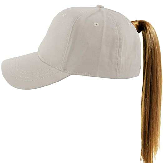 40b6095c7 Muryobao Women's Ponytail Baseball Cap Messy High Bun Adjustable Plain  Trucker Dad Hat
