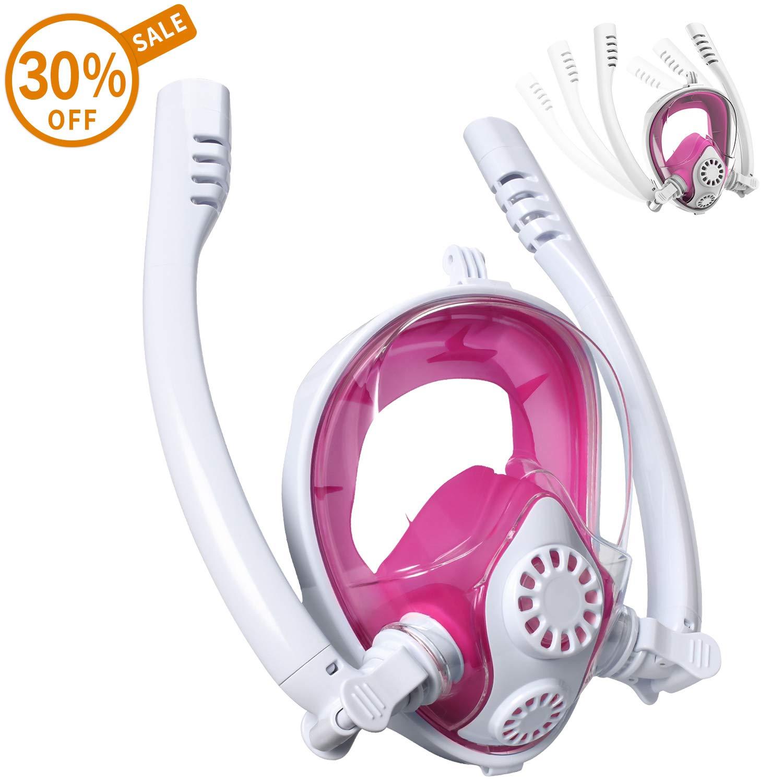 Cevapro Snorkel Mask, Safe K2 Breathing System Full Face Snorkeling Mask for Natural Breath & Safe Snorkeling Anti Leak Anti Fog Diving Mask Dry Snorkel Set for Kids Adult (White-Pink, S/M)