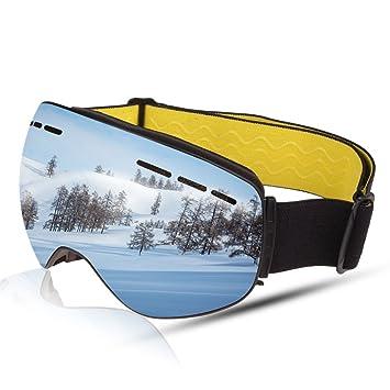 BOLLFO Ski Goggles, Anti Niebla Gafas de Esquiar OTG UV400 Snow Snowboard Skate Gafas de