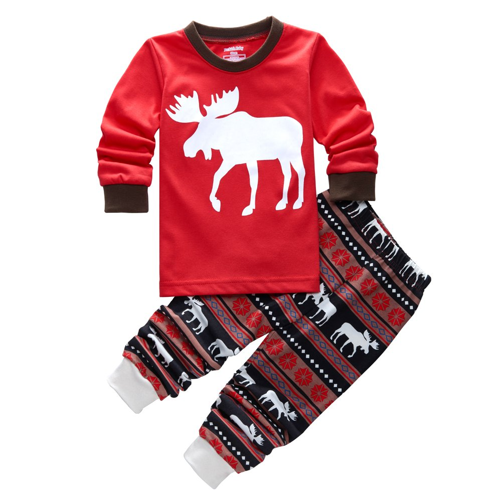 Kids Little Boys Girls Christmas Deer Shirt and Pants Pajamas Set