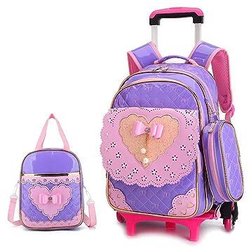 OPmeA Mochila Bolsa de Carrito Impermeable Princesa Linda Estilo de la Mochila con Ruedas Bolso de Mano para niños (Color : Purple, Tamaño : Six Rounds): ...