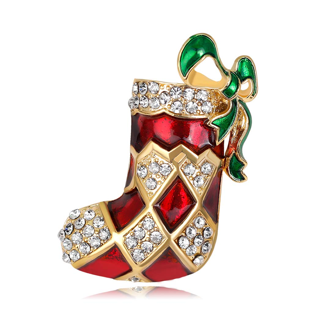Dinfoger Fashion New Christmas Brooch Pins Boot Shoe Winter Rhinestone Jewelry Women Gifts Charms New#001 DF2SS302007