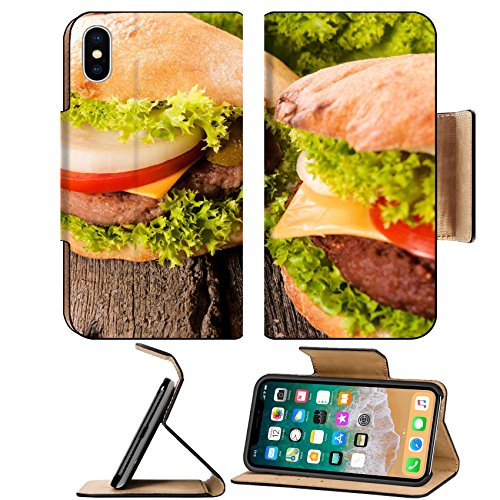 Luxlady Premium Apple iPhone X Flip Pu Leather Wallet Case IMAGE ID: 23453118 Selective focus on the left hamburger with vegetables (Portraits Vegetable)