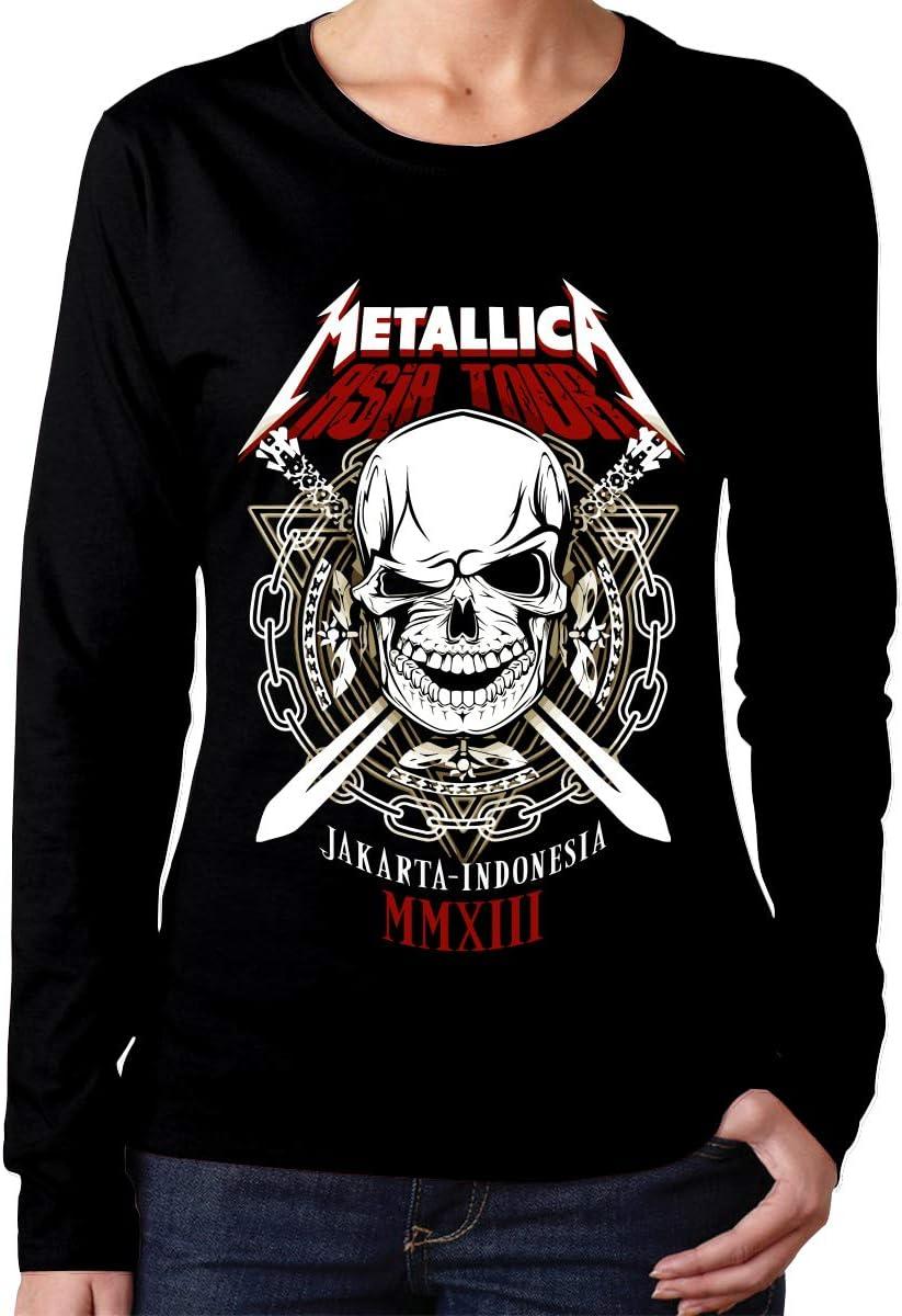 Sadfqw Metallica - Camiseta de Manga Larga con Cuello Redondo para Mujer: Amazon.es: Deportes y aire libre