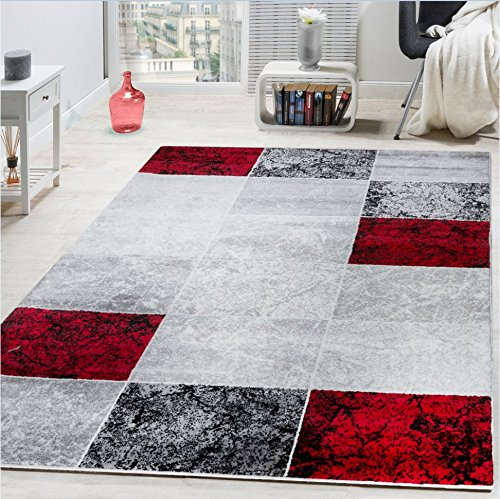 Paco Home Designer Rug Chequered in Marble Visual Effect Flecked Grey Red Sale, Size:60x100 cm