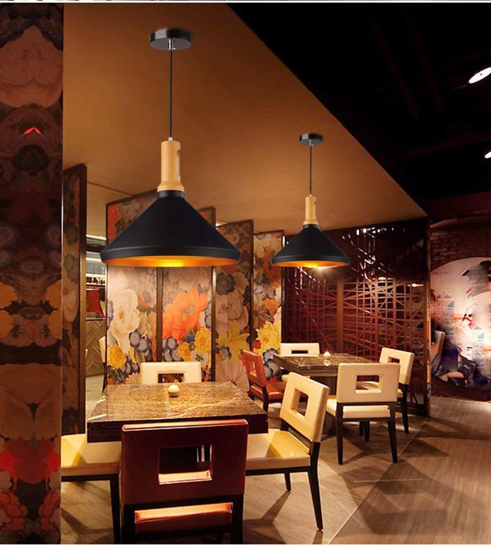 FuweiEncore Pendelleuchte Kronleuchter Vintage Shabby American Village Kreative Kreative Kreative Einzelne Bar Cafe Restaurant Moderne und Minimalistische Industrie-Holz, Schwarz da9490