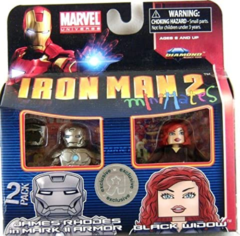 Iron Man 2 Movie Minimates Figure James Rhodes in Mark II Armor & Black Widow (Marvel Minimate Black Widow)