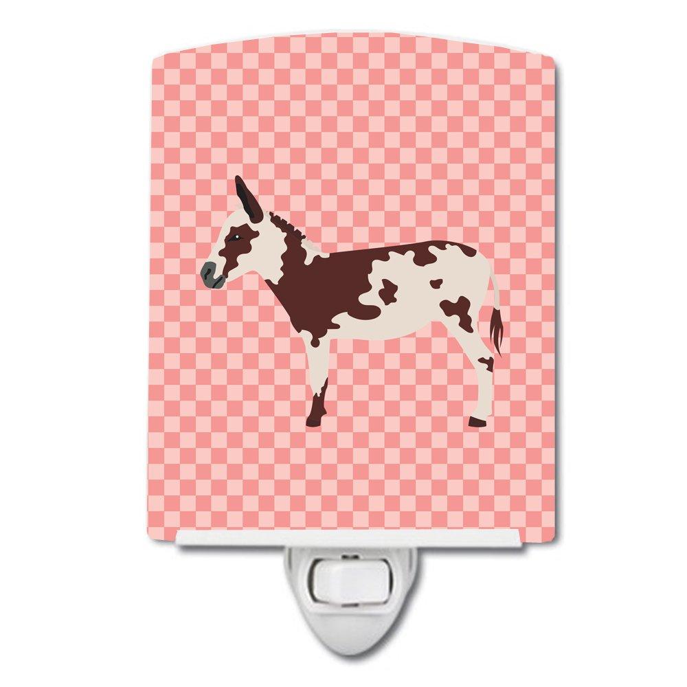 Carolines Treasures American Spotted Donkey Pink Check Ceramic Night Light 6x4 Multicolor