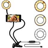 Two in One Selfie Ring Light with Cell Phone Holder Stand for Live Stream Makeup, LED Camera Lighting with Flexible Arms…