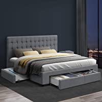 Artiss King Bed Frame Fabric with Storage Drawers - Grey