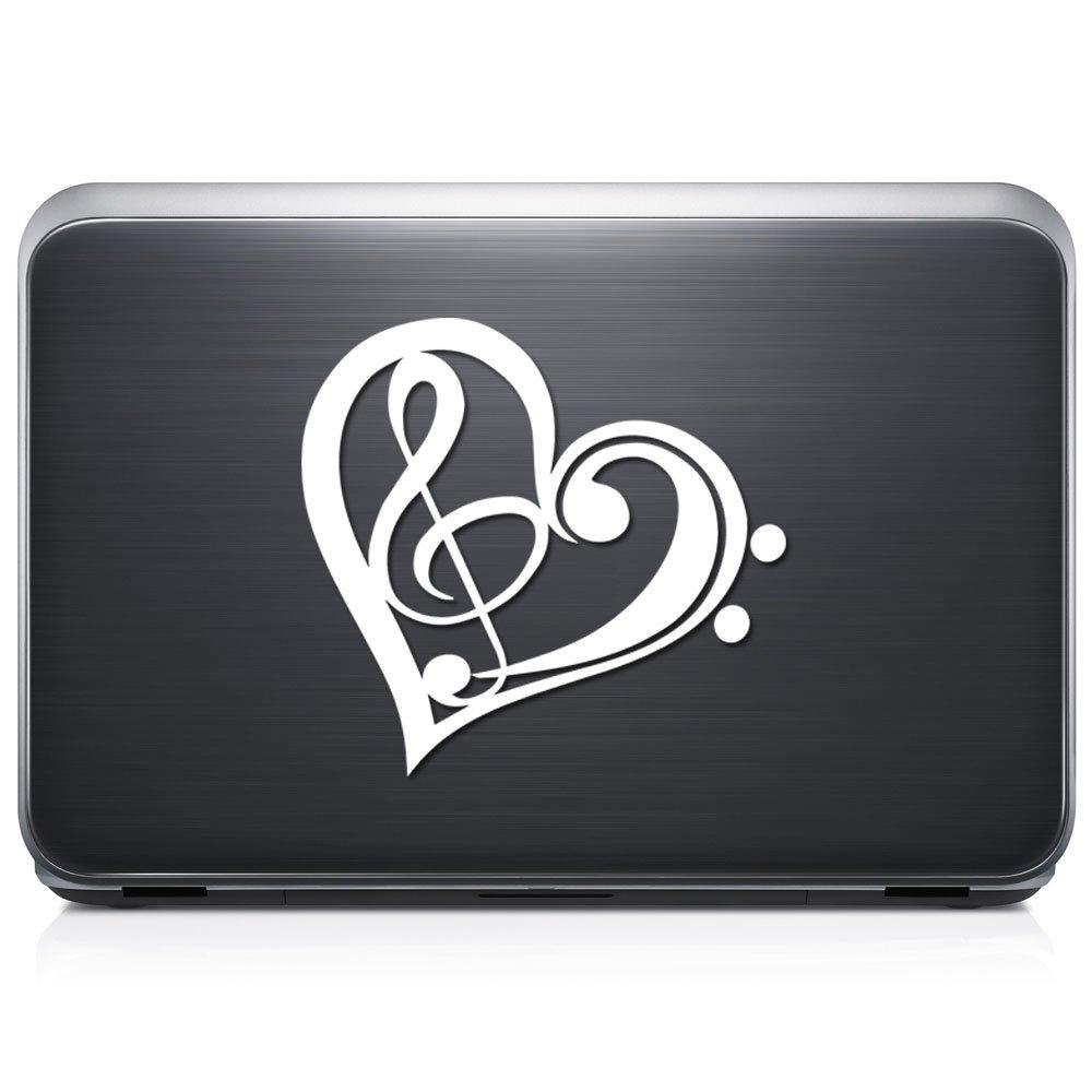 音楽注意記号Loveハート取り外し可能なビニールデカールステッカーforラップトップタブレットWindows壁装飾車トラックオートバイヘルメット (10 in / 25 cm) Wide RSMU128-10MBLK (10 in / 25 cm) Wide マットブラック B072T2LFF1