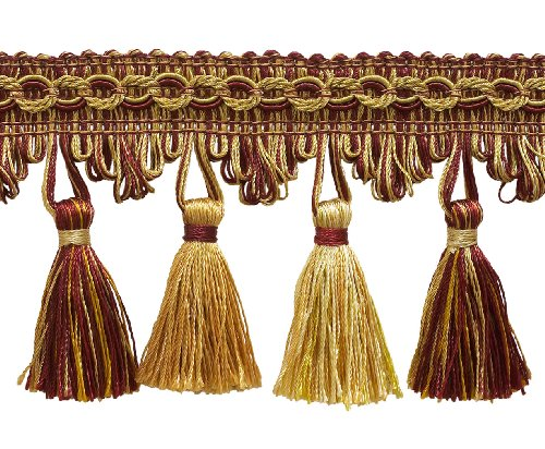 5 Yard Value Pack of Burgundy Red, Gold 2 3/4