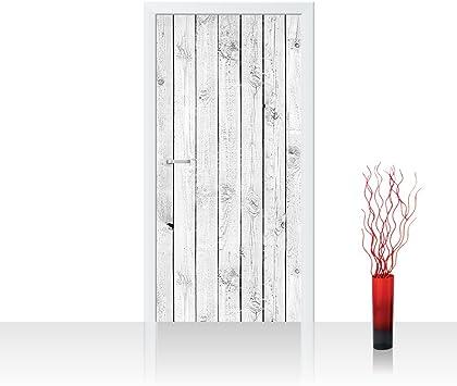 Papel pintado de fieltro para puerta, con diseño de madera, color ...