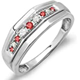 Sterling Silver Round Ruby & White Diamond Men's Wedding Anniversary Band