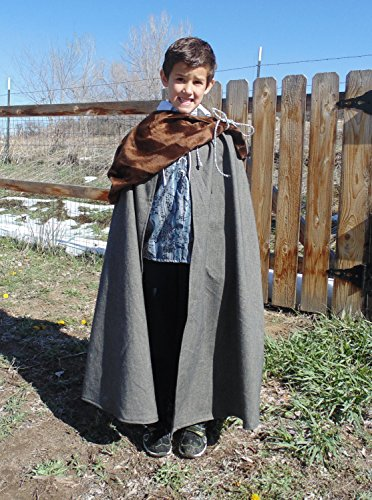 Boys 5-7 adjustable blue , brown and grey bear prince with matching fur and cape by Fru Fru and Feathers Costumes & Gifts