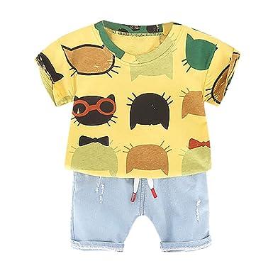 LABIUO - Conjunto de Camiseta y Pantalones Vaqueros para ...