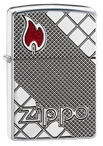 Zippo Armor Logo & Flame Pocket Lighter, High Polish Chrome