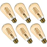 Comyan Dimmable LED Light Bulbs Edison Filament 6-Pack, 30 Watt Equivalent, E26