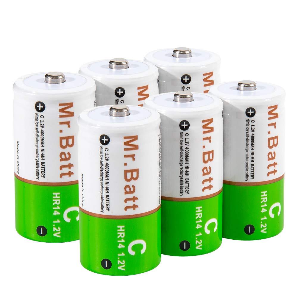 Mr.Batt C Cell Batteries NiMH Rechargeable C Battereis Pre-Charged 4000mAh (6 Pack) by Mr.Batt