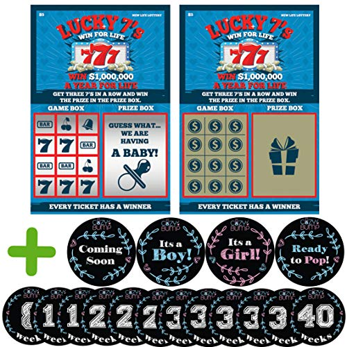 Pregnancy Announcement Scratch Off - 6 Pregnancy Scratch Offs Included - Comes with Pregnancy Stickers
