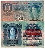 #9: 1913 AT XXX-RARE & STUNNING 1913 AUSTRO-HUNGARIAN EMPIRE 20 KRONEN NOTE (LIGHTLY CIRCULATED) 20 KRONEN XF-AU