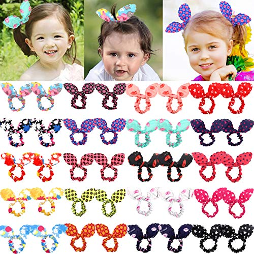 40Pcs Cute Baby Hair Ties Bunny Rabbit Ears Hair Bows Elastic Hair Holders for Baby Girls and Toddlers in Pairs