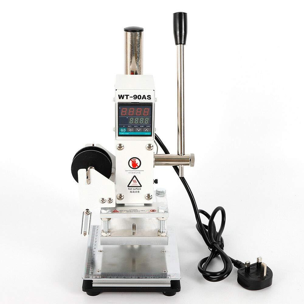 10 cm YIYIBY M/áquina de estampado en caliente digital M/áquina de estampado en cuero M/áquina de estampado en caliente con control deslizante de posicionamiento para cuero de PVC Papel de PU 8