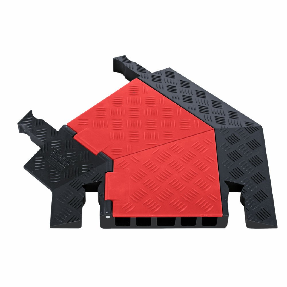 Guard Dog GDT5X125-L-O/B Polyurethane Heavy Duty 5 Channel 45 Degree Left Turn Cable Protector with Dog-Bone Connector, Orange Lid with Black Ramp, 24.5'' Length, 19.75'' Width, 1.87'' Height