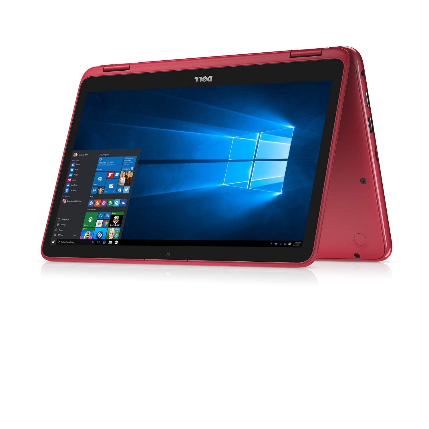 """2019 Dell Inspiron 11.6"""" Touchscreen 2-in-1 Laptop Computer, AMD A6-9220e 1.6 GHz Up to 2.4GHz, 4GB DDR4 SDRAM, 64GB eMMC SSD, WiFi, Bluetooth, USB 3.1, HDMI, Red, Windows 10 S"""