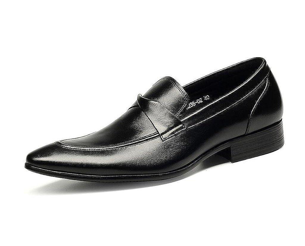 GUOPIN Herren Kleid Schuhe Leder Spitze Business Fashion Hochzeit Schuhe,schwarz,43
