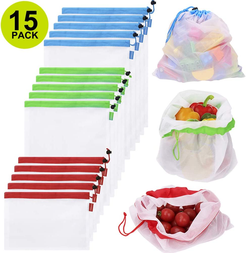 15PCS Reusable Mesh Produce Bags, Washable See-through Grocery Bags for Shopping/Fruits/Vegetable/Toys Storage Bags with 3 Sizes (5 X Small, 5 X Medium, 5 X Large)