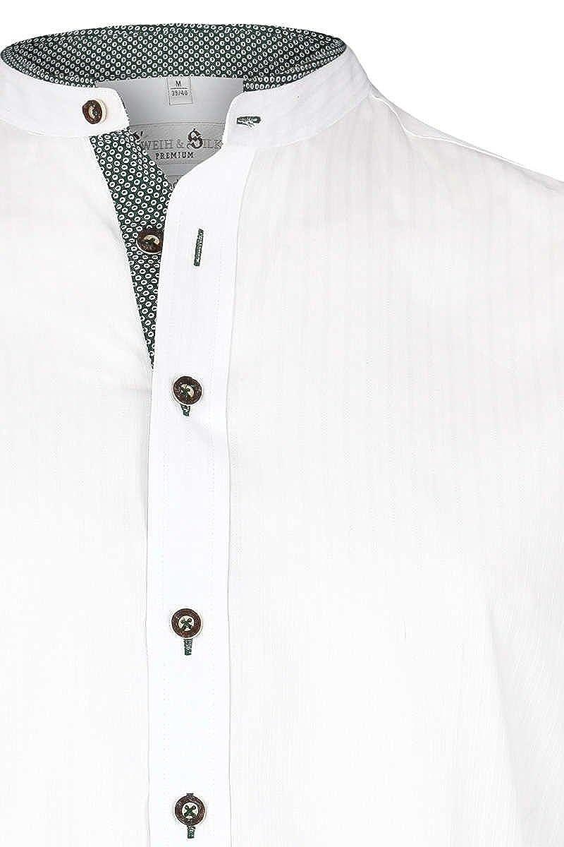 Gweih&Silk Herren Trachten Hemd mit Stehkragen Slim fit