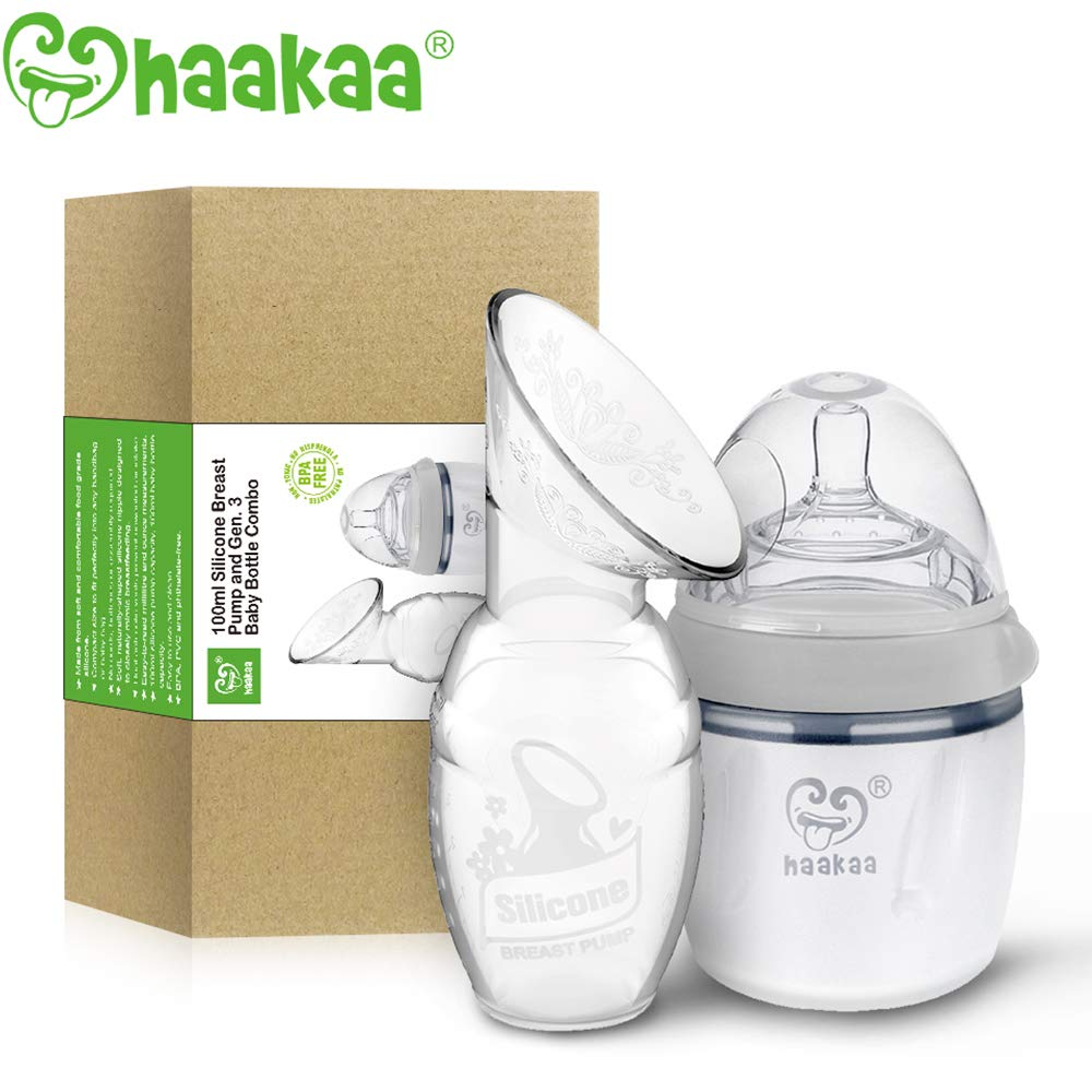 Haakaa Manual Breast Pump with Milk Bottle for Breastfeeding 100% Food Grade Silicone BPA PVC and Phthalate Free (4oz/100ml Pump + 160ml Milk Bottle) by haakaa