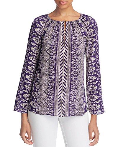Tory Burch Women's Varenna Floral Silk Tunic Top Blouse, Dark Amethyst / Castille, - Tory Inspired Burch